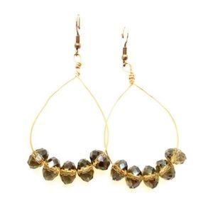 Vintage Gold Wire Smoky Topaz Earrings